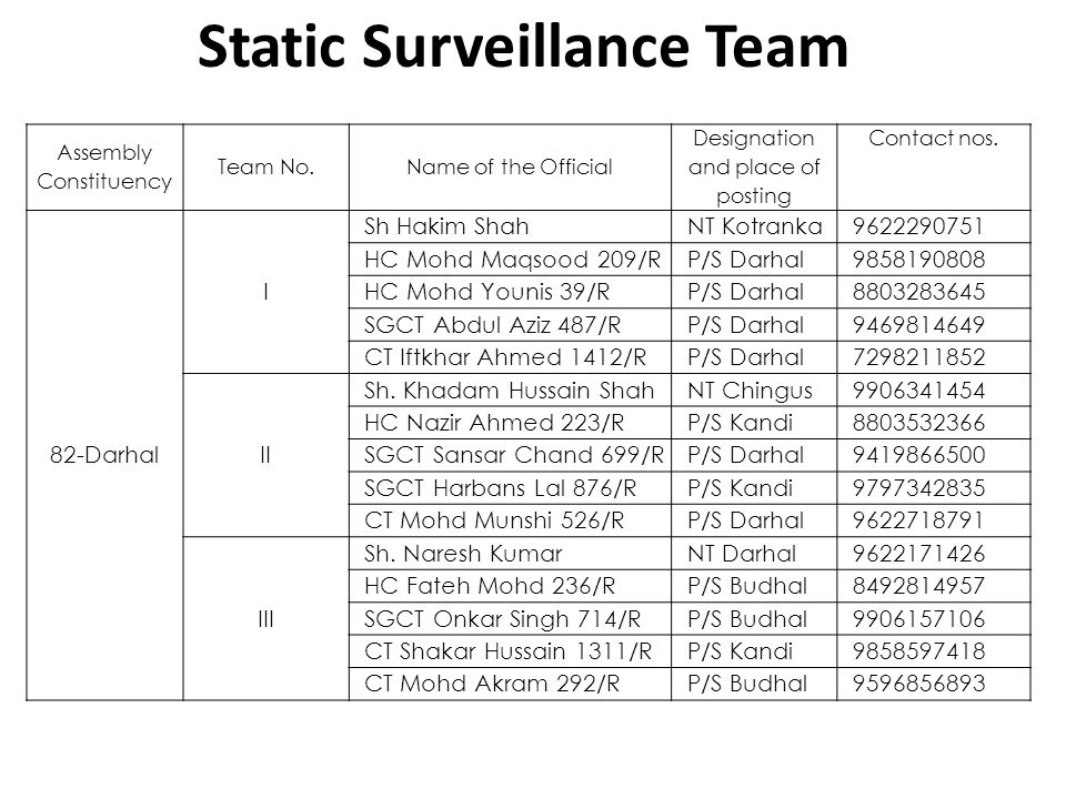Static Surveillance Team
