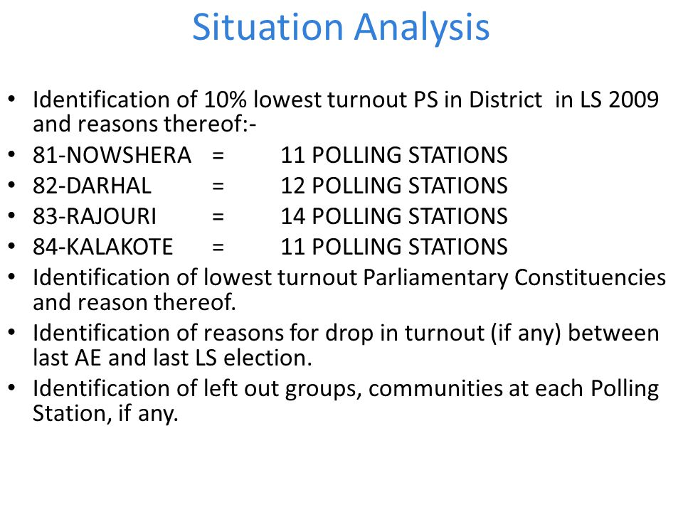 Situation Analysis Identification of 10% lowest turnout PS in District in LS 2009 and reasons thereof:-