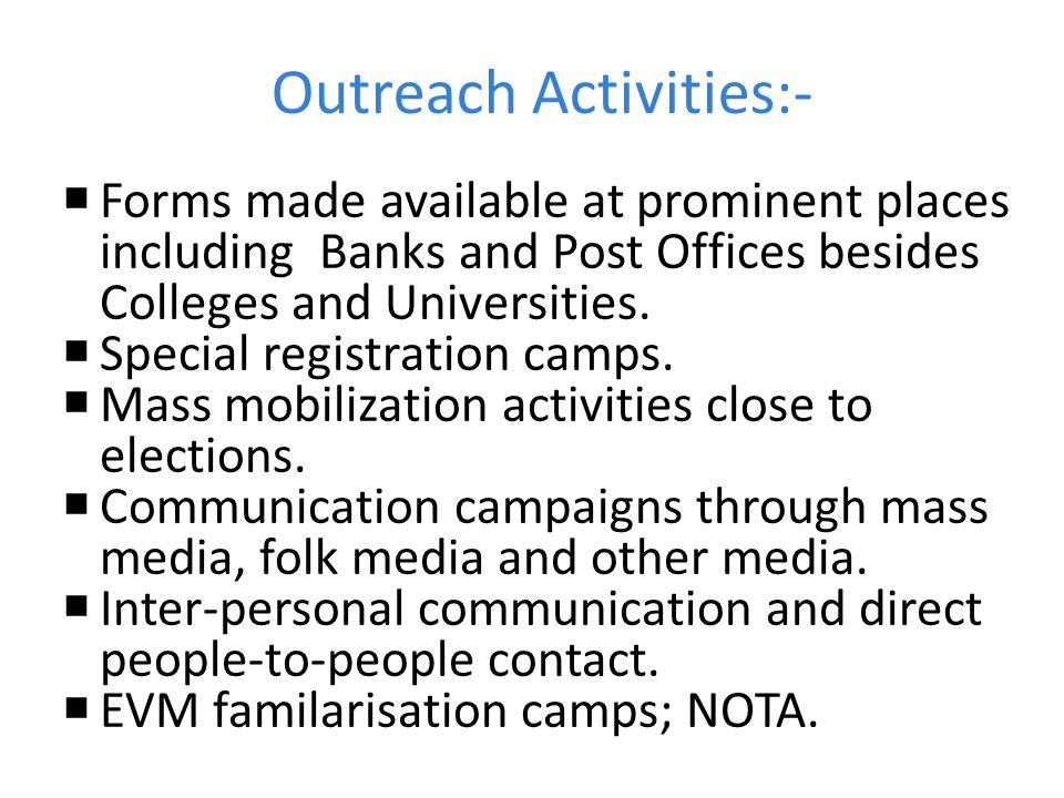 Outreach Activities:-