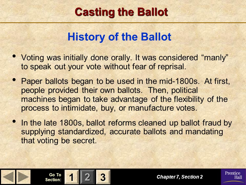 Casting the Ballot History of the Ballot