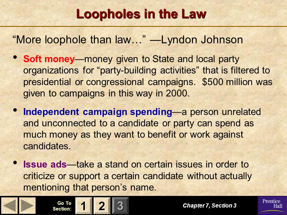 Loopholes in the Law 1 2 More loophole than law… —Lyndon Johnson