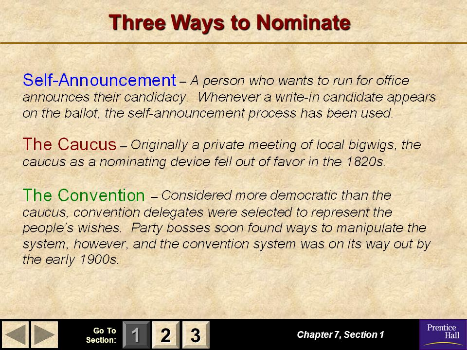 Three Ways to Nominate 2 3 Chapter 7, Section 1