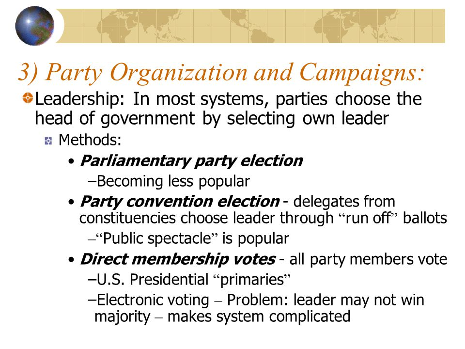 3) Party Organization and Campaigns: