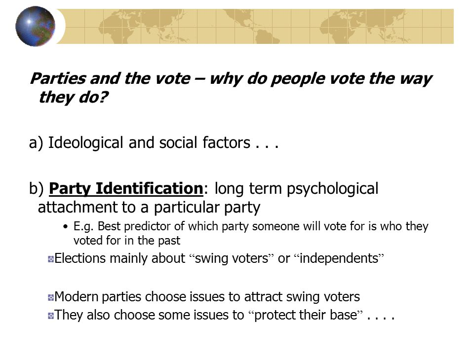 Parties and the vote – why do people vote the way they do