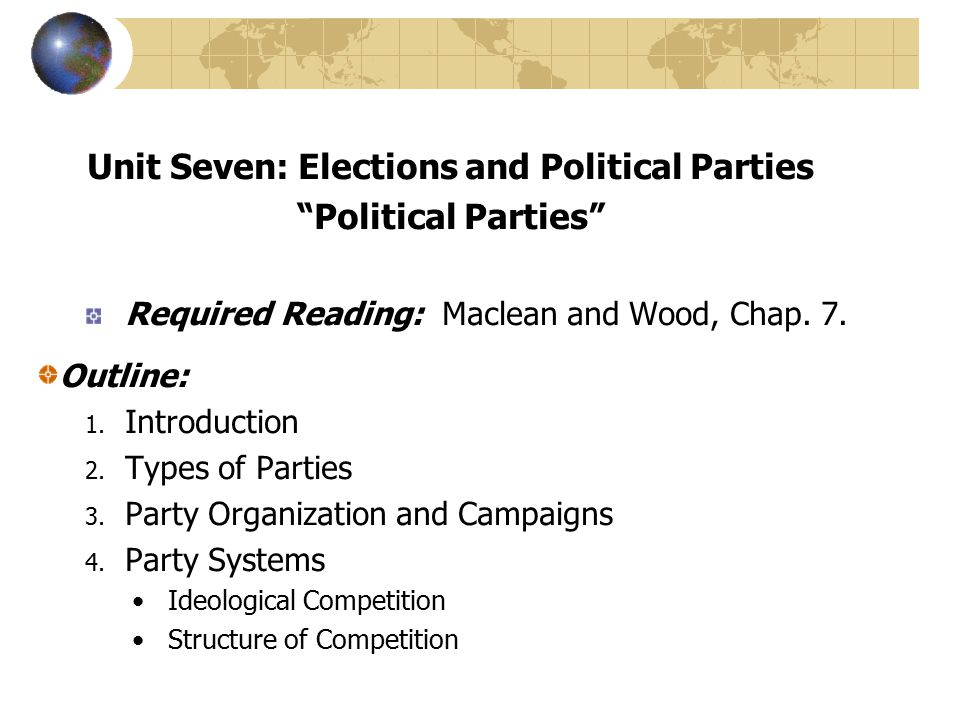 Unit Seven: Elections and Political Parties