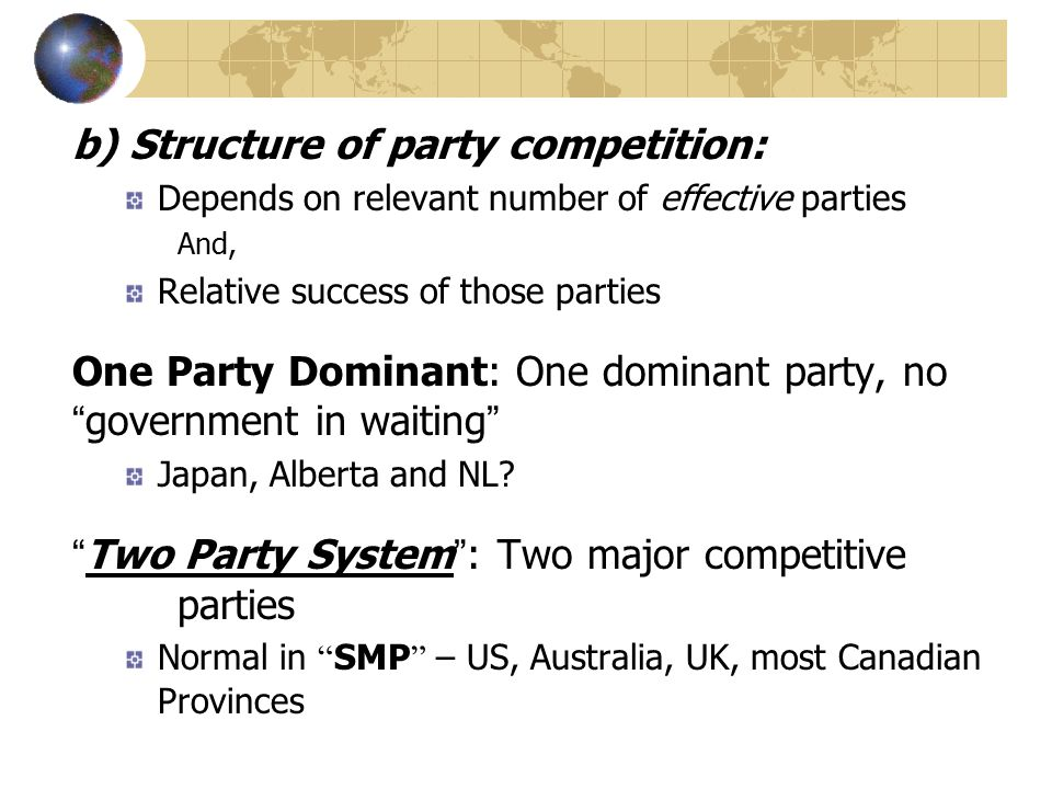 b) Structure of party competition:
