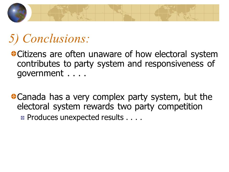 5) Conclusions: Citizens are often unaware of how electoral system contributes to party system and responsiveness of government . . . .
