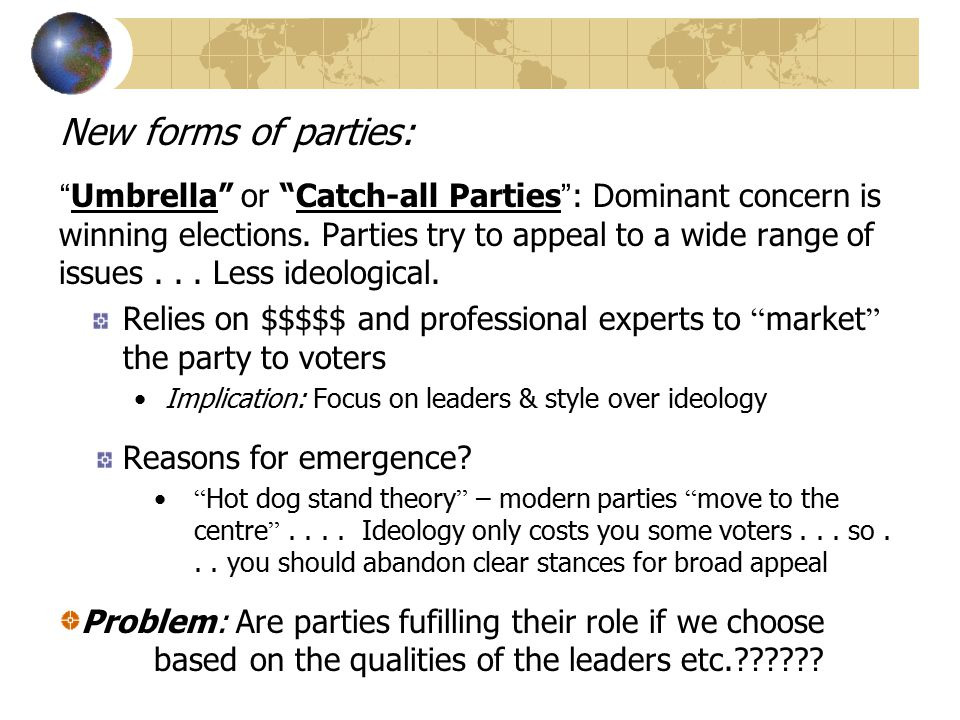 New forms of parties:
