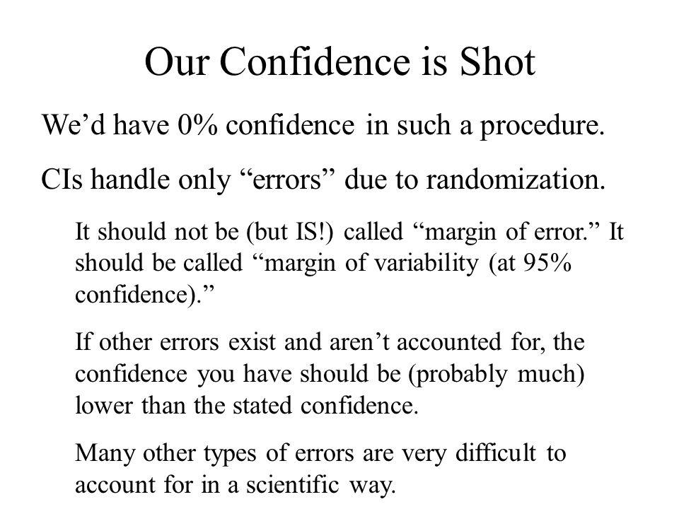 Our Confidence is Shot We'd have 0% confidence in such a procedure.