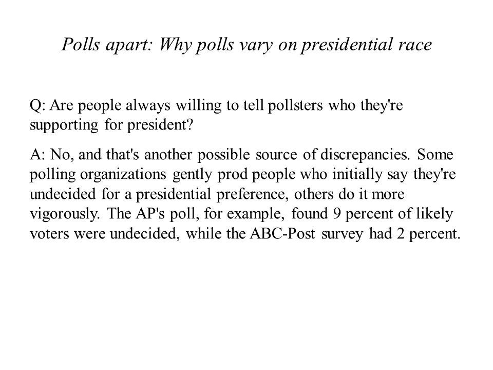 Polls apart: Why polls vary on presidential race
