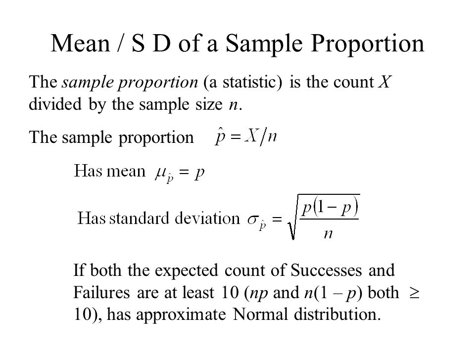 Mean / S D of a Sample Proportion