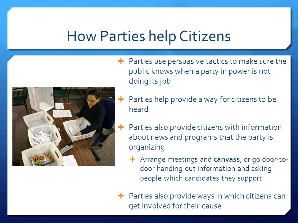 How Parties help Citizens