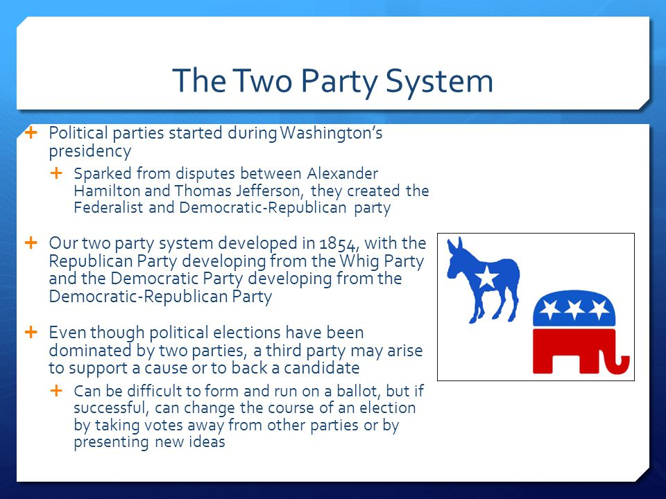 The Two Party System Political parties started during Washington's presidency.