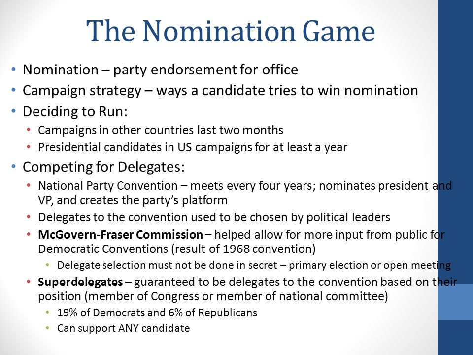 The Nomination Game Nomination – party endorsement for office