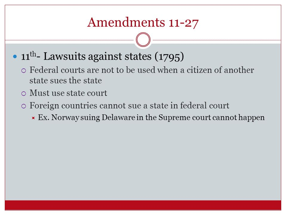 Amendments 11-27 11th- Lawsuits against states (1795)