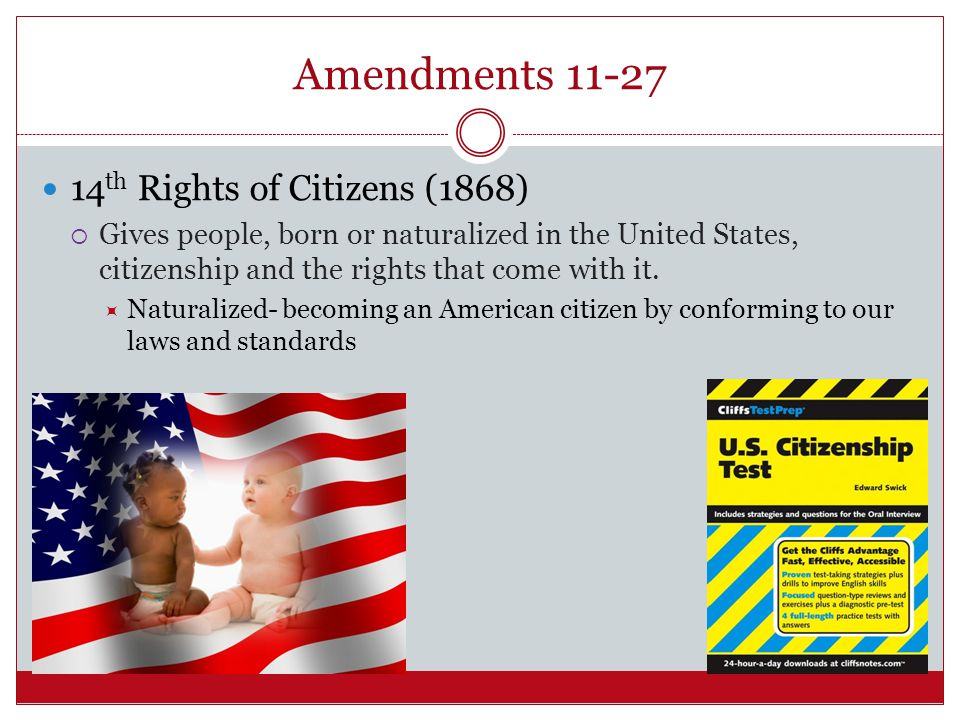 Amendments 11-27 14th Rights of Citizens (1868)