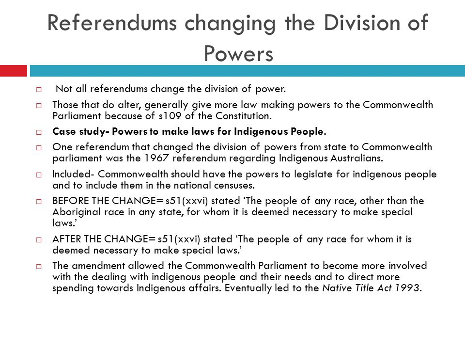 Referendums changing the Division of Powers