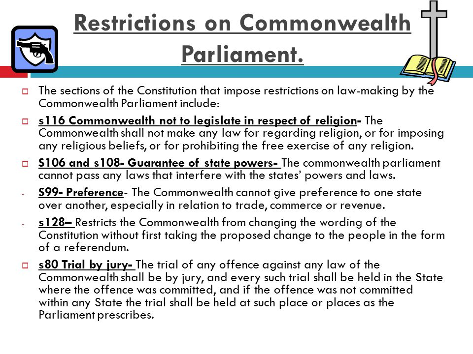 Restrictions on Commonwealth Parliament.