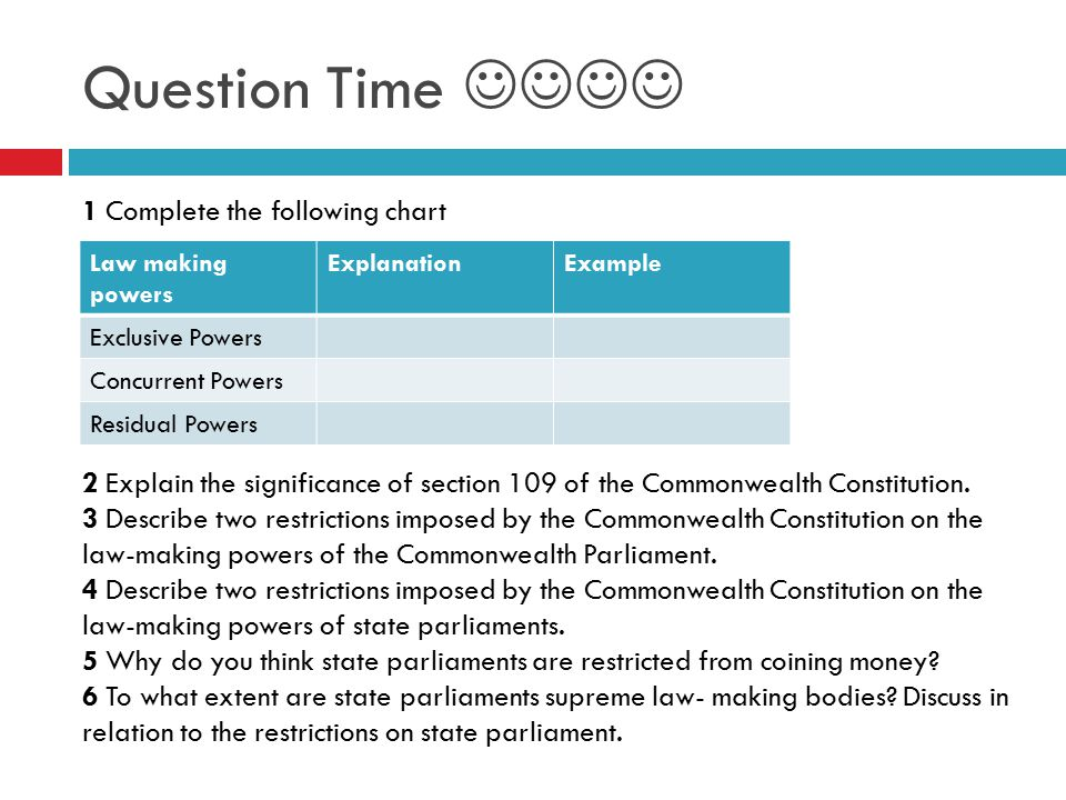 Question Time  1 Complete the following chart