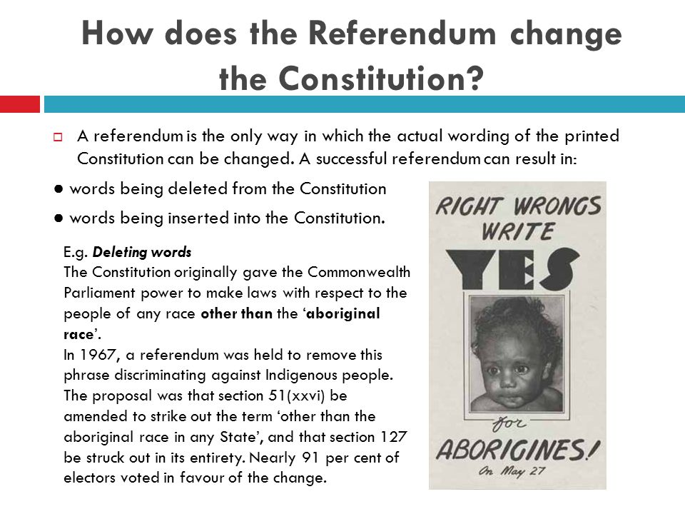 How does the Referendum change the Constitution