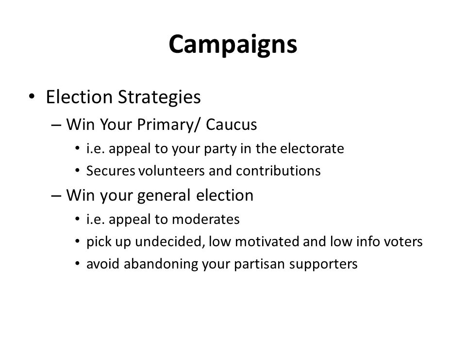 Campaigns Election Strategies Win Your Primary/ Caucus