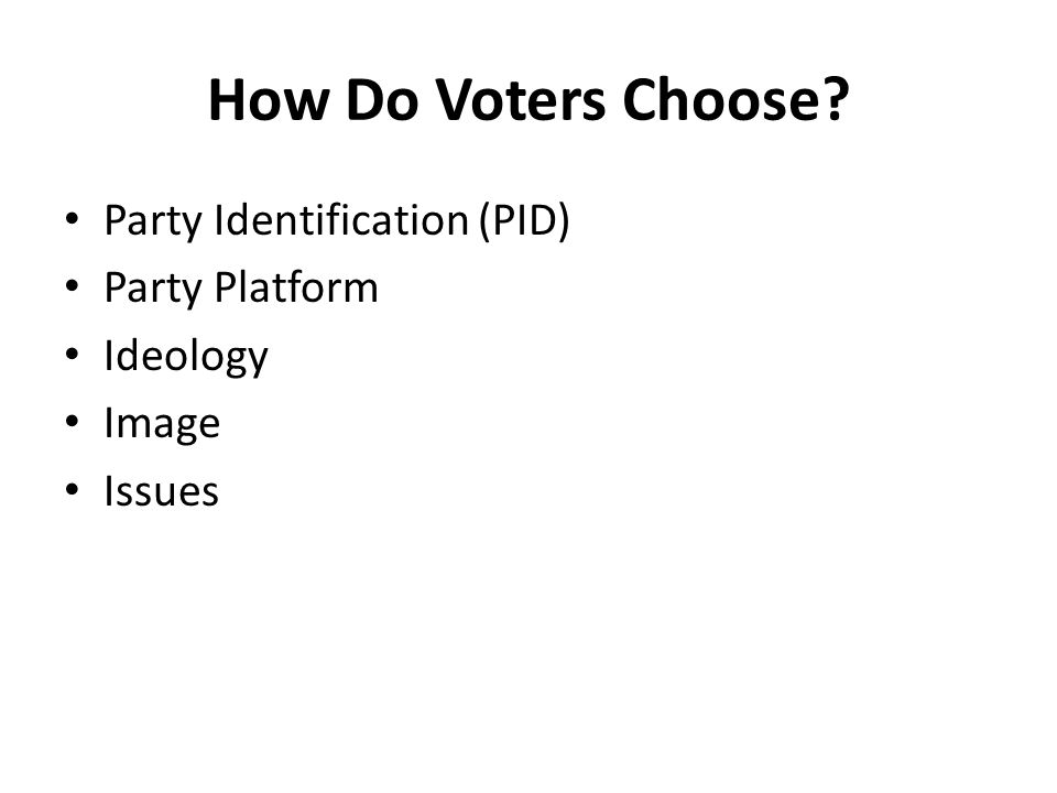 How Do Voters Choose Party Identification (PID) Party Platform