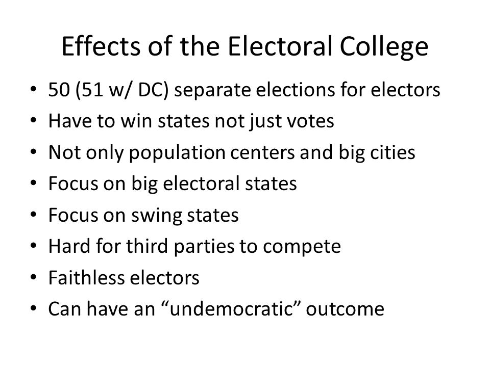 Effects of the Electoral College