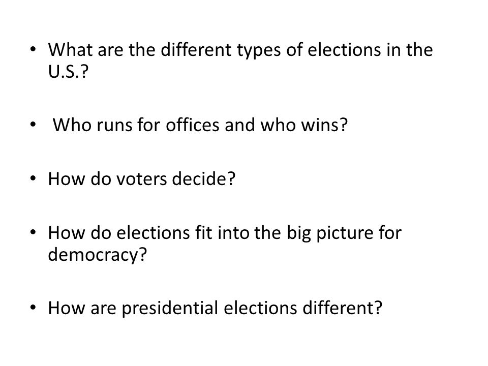 What are the different types of elections in the U.S.