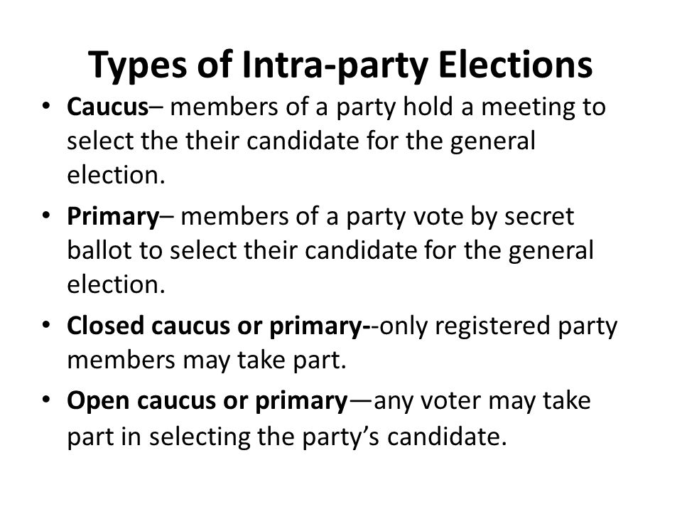 Types of Intra-party Elections