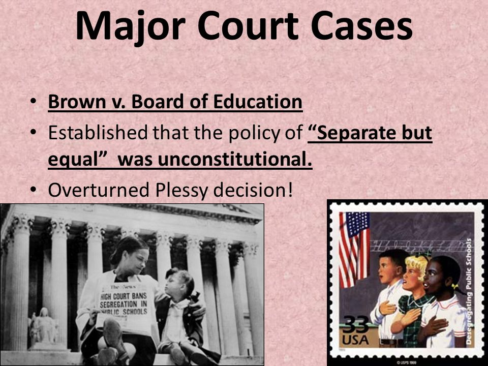 Major Court Cases Brown v. Board of Education