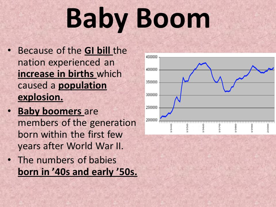 Baby Boom Because of the GI bill the nation experienced an increase in births which caused a population explosion.