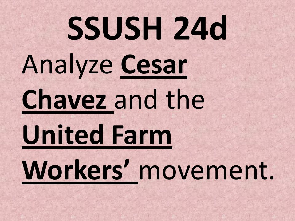 SSUSH 24d Analyze Cesar Chavez and the United Farm Workers' movement.