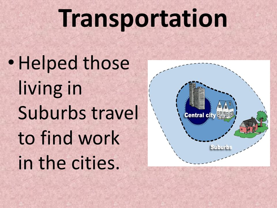 Transportation Helped those living in Suburbs travel to find work in the cities.