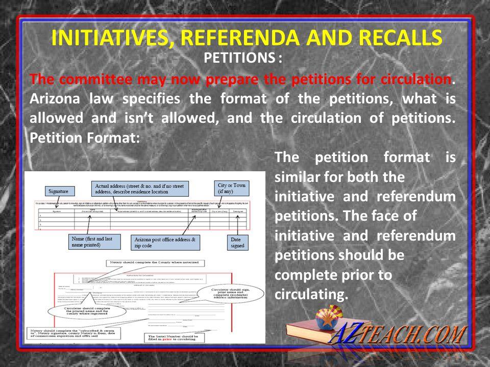 INITIATIVES, REFERENDA AND RECALLS