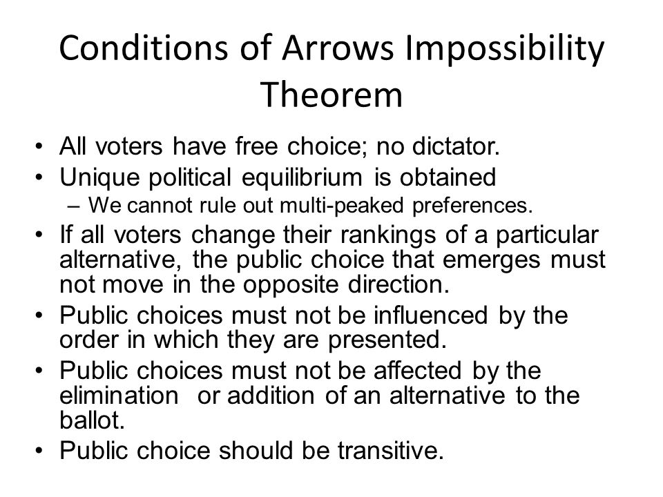Conditions of Arrows Impossibility Theorem