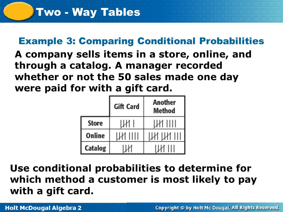 Example 3: Comparing Conditional Probabilities