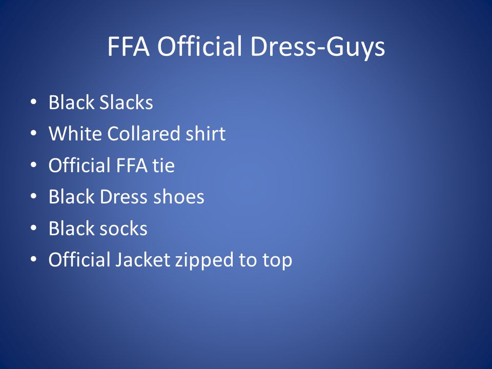 FFA Official Dress-Guys