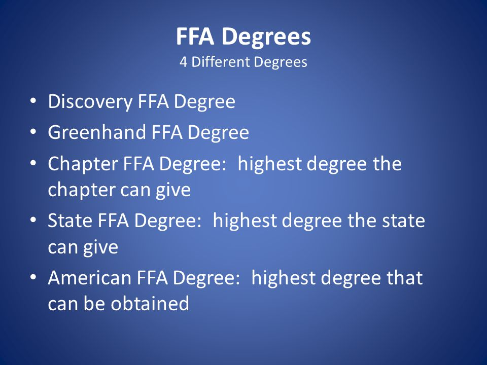 FFA Degrees 4 Different Degrees