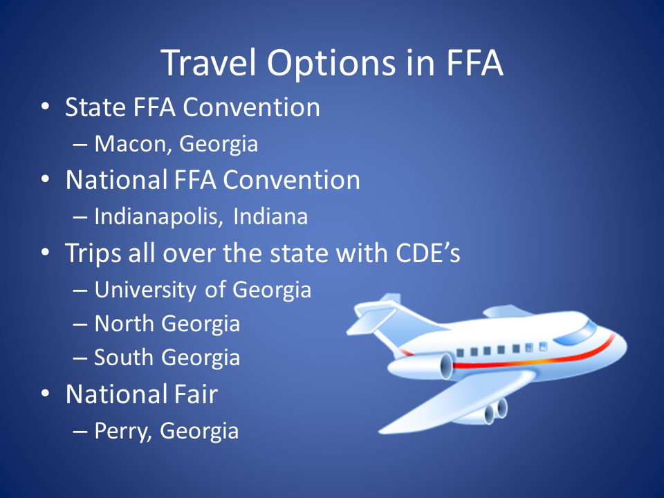 Travel Options in FFA State FFA Convention National FFA Convention