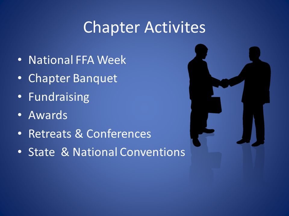 Chapter Activites National FFA Week Chapter Banquet Fundraising Awards