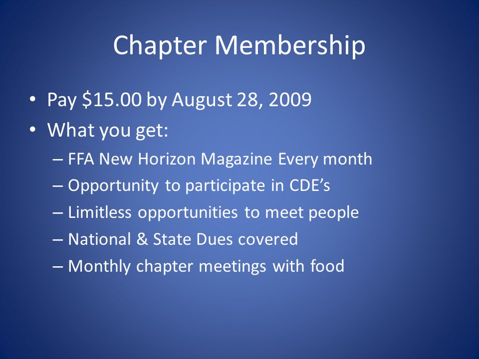 Chapter Membership Pay $15.00 by August 28, 2009 What you get: