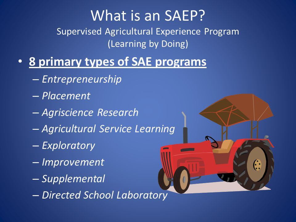 What is an SAEP Supervised Agricultural Experience Program (Learning by Doing)