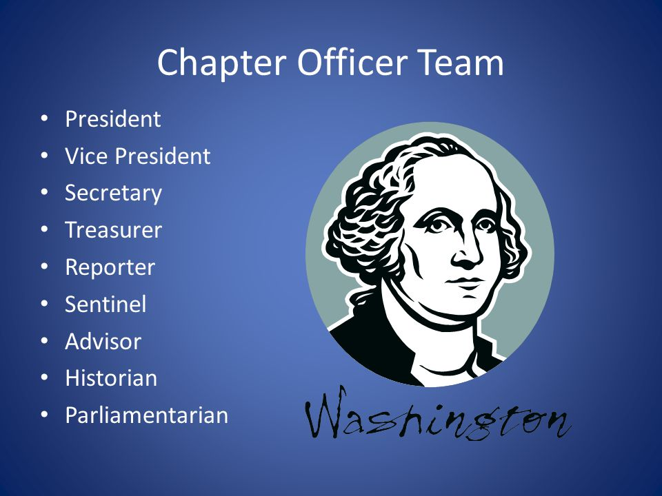 Chapter Officer Team President Vice President Secretary Treasurer