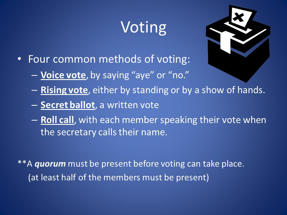 Voting Four common methods of voting: