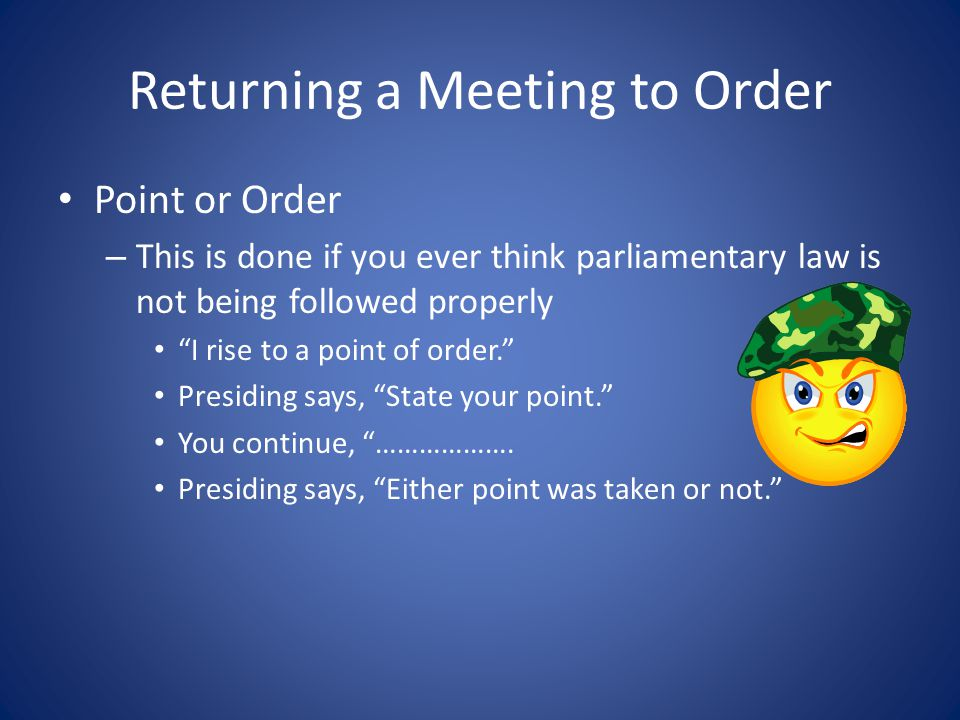 Returning a Meeting to Order