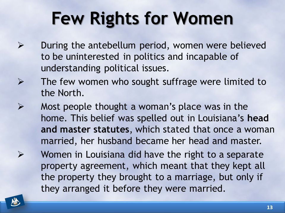 Few Rights for Women