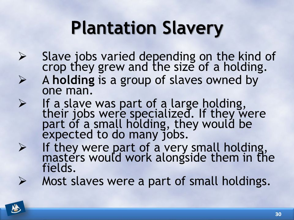 Plantation Slavery Slave jobs varied depending on the kind of crop they grew and the size of a holding.