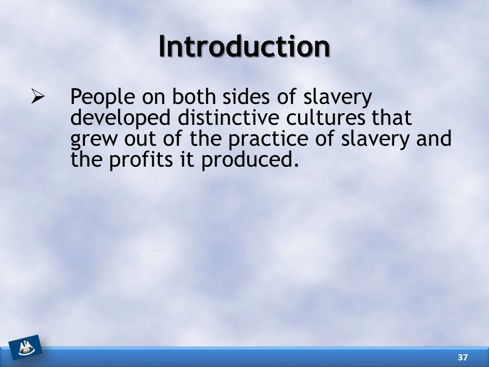 Introduction People on both sides of slavery developed distinctive cultures that grew out of the practice of slavery and the profits it produced.