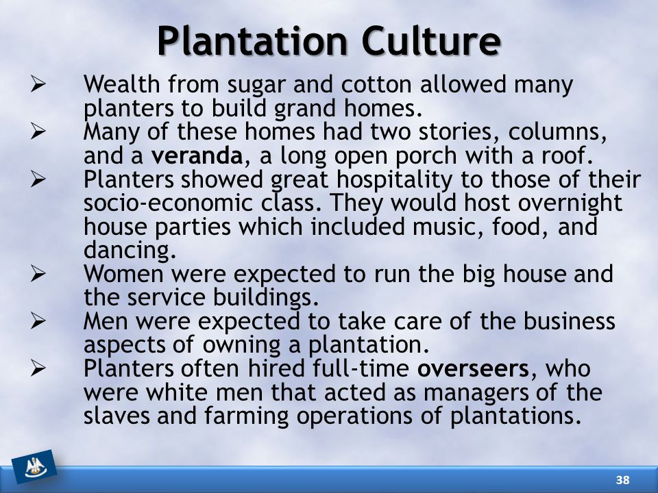 Plantation Culture Wealth from sugar and cotton allowed many planters to build grand homes.