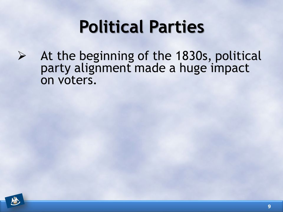 Political Parties At the beginning of the 1830s, political party alignment made a huge impact on voters.